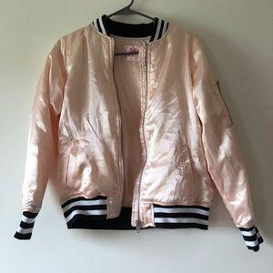 Justice Pinkish Black and White Stripe Jacket